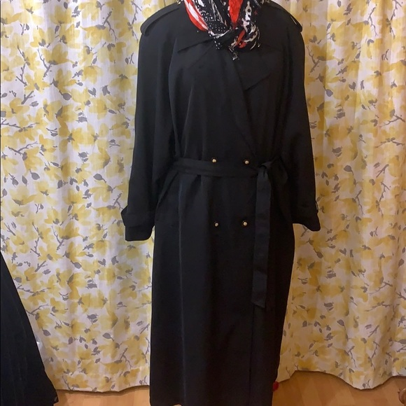Vintage extra long black trench coat